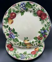 Sakura Oneida Sonoma TAN Stoneware Fruit Pattern Set of Four 4 Dinner Plates GUC