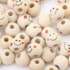 20 Wooden Round Painted Smile Face Loose Beads CRAFT BEADS Beaded  Handmade 12mm