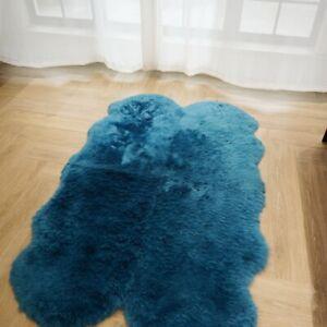 3.3'x5.2' Blue Australian Sheepskin Rug Sofa Living Room Mat Soft Fluffy Carpet