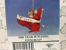 Charming Tails The Year Is Flying Fitz & Floyd Christmas Ornament 2003 New
