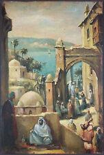 """Ancien Tableau """"Scène de Rue en Orient"""" Peinture Huile Antique Oil Painting"""