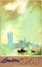ORIGINAL Vintage Airlines Travel Poster SAS England LONDON Thames WESTMINSTER