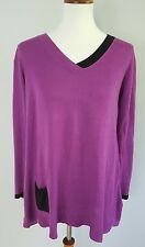 Rachel Roy Women's M Relaxed Loose Knit Tunic Pullover Sweater Purple Black