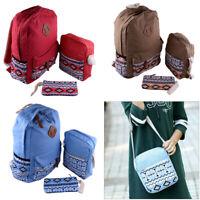 3pcs Set Women Girls Travel Canvas Rucksack Backpack School Shoulder Bag Bookbag