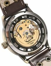 AMPM24 Vintage Bronze Roman Automatic Mechanical Mens Skeleton Brown Leather Str