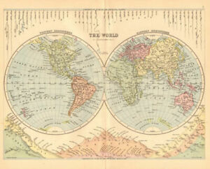 THE WORLD IN HEMISPHERES. River lengths Mountain heights. BARTHOLOMEW 1876 map