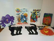 Vintage 1990's Halloween Static Cling Window wall Decorations lot of 7 Items