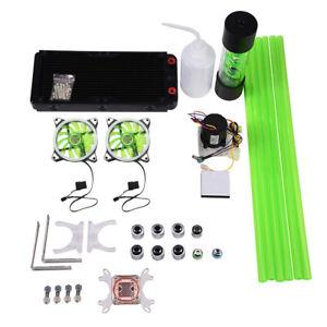 PC Liquid Water Cooling Kit 240 Radiator Pump Tank Reservoir CPU Block Heat Sink