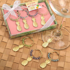 Set of 4 Tropical Gold Pineapple Wine Charms Bridal Shower Wedding Favors