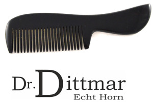 Dr.Dittmar Large Swinging Beard Comb Black Water Buffalo Horn Comb 4 1/8in