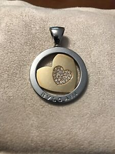 BVLGARI DIAMOND HEART PENDANT 750 STAINLESS STEEL