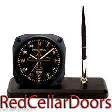 TRINTEC DIRECTIONAL GYRO Desk Pen Set VINTAGE Airplane Guage Alarm Clock New