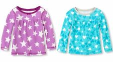 NWT Children's Place Girl's Thermal Tops 4T Lot Purple Stars, Turquoise Hearts