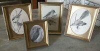 Vintage lot shadow box frame gold metal picture Art frames decor birds 3x4 5x7""