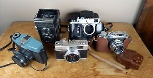 Vintage camera job lot - zorki 4k, konica c35, yashicaflex - spares repair