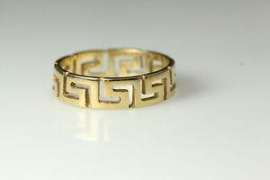 Very Nice 14K Yellow Gold Size 6 Greek Key Band Ring 2.6 Grams (RIN7200)