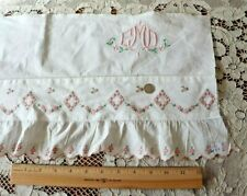 """Vintage French Pillowcase Ruffle With Pink Embroidered Roses ~L-49""""X W-10""""~Dolls"""