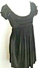 Free People Babydoll Dress L Black Velvet Stretch Off Shoulder Holiday Party Boh