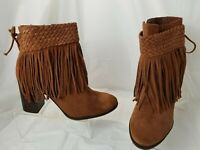 Schutz Women's Brown Suede Boots Booties w/removable Fringe Size 39 / 8 M Brazil