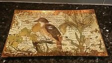 "Signed Decoupage Painted Tray Platter ""Bird with Lizard"" - 2002 - Gold Leaf"