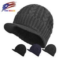 Mens Winter Hat Knit Visor Beanie Fleece Lined Billed Beanie with Brim Watch Cap