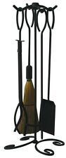 Uniflame 5 Pc Black Wrought Iron Fireset w/Ring Handles F-1187B New