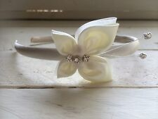 Ivory Satin Alice Band Headband Hairband  Ivory Butterfly Bridesmaid Flower Girl