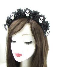 Black White Sugar Skull Flower Hair Crown Headband Goth Rose Halloween Vtg 462