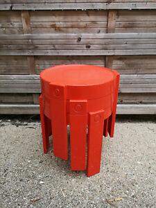 3 tables gigogne plastique orange année 1970 Marc Held pour Prisunic