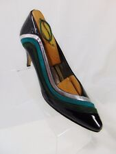 APART Vintage 80s 90s Women's Heels Pumps Sz 7.5 B (M) Black Silver Blue Green