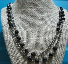 Long Costume Jewelry Necklace Faceted Black Glass Beads Silver Chain T53
