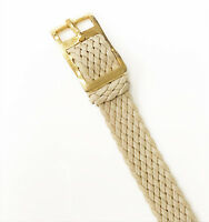 Hirsch Genuine Beige Cloth Material 10mm Gold Tone S Steel Buckle Watch Band