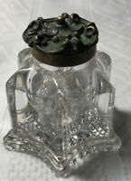 """ANTIQUE Heavy  VINTAGE GLASS FOUNTAIN PEN INKWELL HINGED BRASS TOP 3 1/3"""" TALL"""