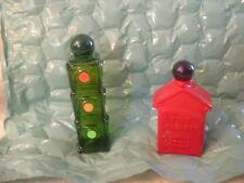 Vintage 2-AVON Decanters stop light & fire arlarm box full bottles Avon's Spicy