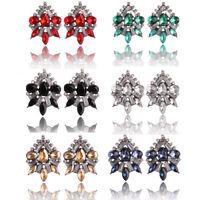 Fashion Bohemian Women Rhinestone Crystal Flower Ear Stud Boho Dangle Earrings