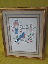 Limited Edition Numbered Charles McLaurin Framed Print of EASTERN BLUE BIRDS
