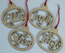 Personalised Christmas Hanging Bauble Decoration Xmas Gift Name - Birch Plywood