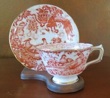 Royal Crown Derby Red Aves Chelsea Shape Cup & Saucer Set c. 1980