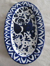 Splendor of Florence-Hand Painted in Italy-Blue Bird Design-Oval Wall Hanging(s)