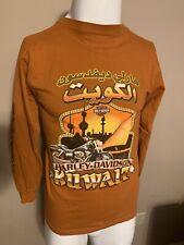 HARLEY DAVIDSON Orange Long Sleeve Kuwait Mens Motorcycle T Shirt Small S USA