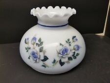 """Antique Light Blue 6.75"""" Glass Half Shade with Royal Rose Floral Motif"""