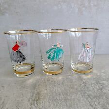 3 Mid Century Drinking Glasses 200mls Elegant Ladies Fashion Glassware Vintage