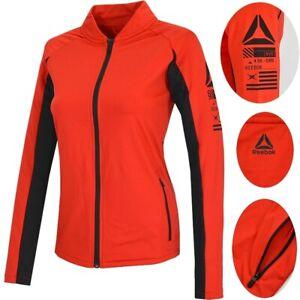 Reebok Kinder Laufjacke Sport Jacke Trainingsjacke Mädchen Track Top schwarz rot
