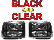 DEPO 05 06 07 Ford F250 F350 Superduty Harley Black Clear Corner Headlights PAIR