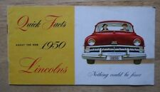 LINCOLN COSMOPOLITAN orig 1950 USA Mkt Quick Facts Small Brochure - Sport Sedan