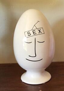 Rare Vintage TaAk Ceramic Egghead SEX Condom Holder Japan
