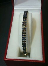 Gold Bangle Hand Crafted in 22k with Blue Sapphires Openable