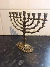 TAMAR ISRAEL JEWISH MENORAH SOLID BRASS Candelabra 9 Candle Holder 450