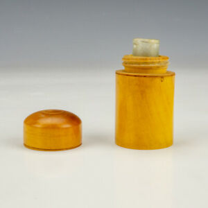 Antique Polished Wood - Early Pocket Travel Inkwell Ink Bottle