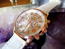 LADIES GENEVA QUARTZ WATCH - WHITE/GOLD FACE - 3 DIAL EFFECT - FX LEATHER STRAP